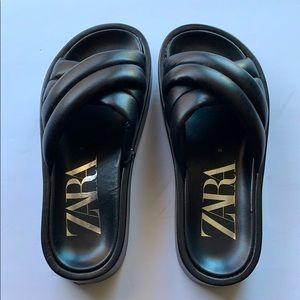 Zara Quilted Platform Leather Sandal,Black,Size 36
